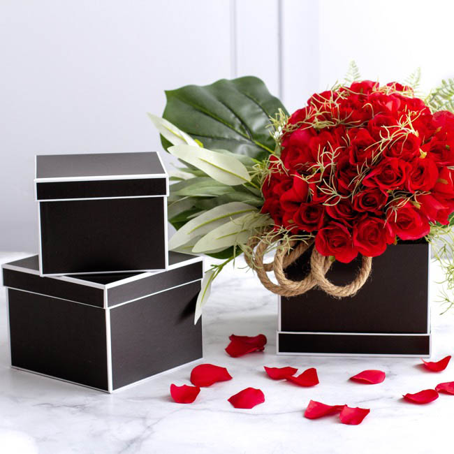 Gift Flower Box Square Silhouette Black (20x15cmH) Set 3