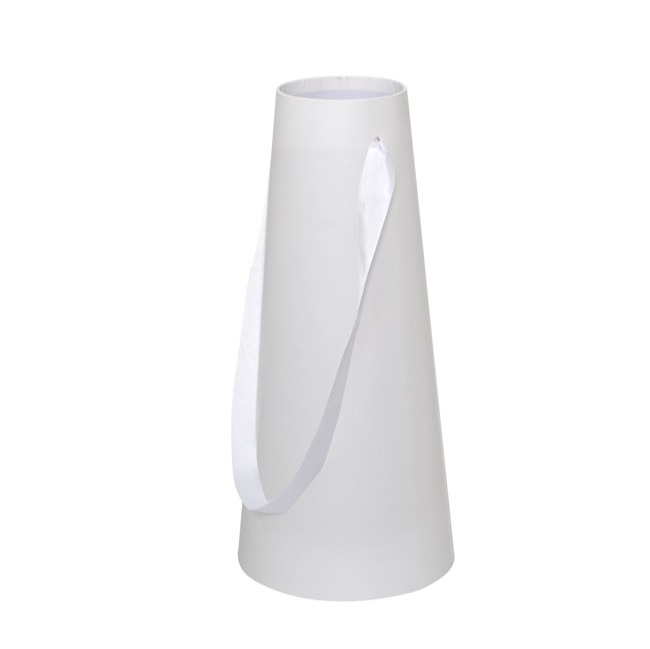 Flower Conical Vase Rigid Lge White (11cmx20cmx46cmH)
