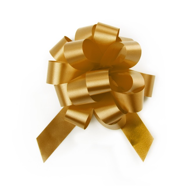 Ribbon Pull Bow Pom Pom Gold (18mmx8.75cmD) Pack 5