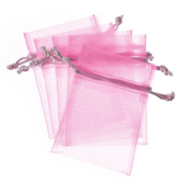 Organza Bag Medium Baby Pink (12.5x17cmH) Pack 10