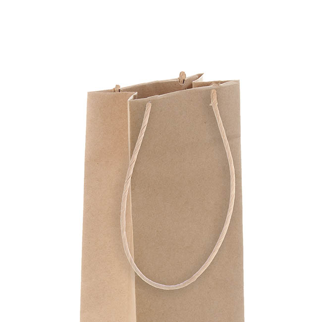 Wine Bag Single Bottle Kraft Paper Natural (11Wx7Gx35cmH)
