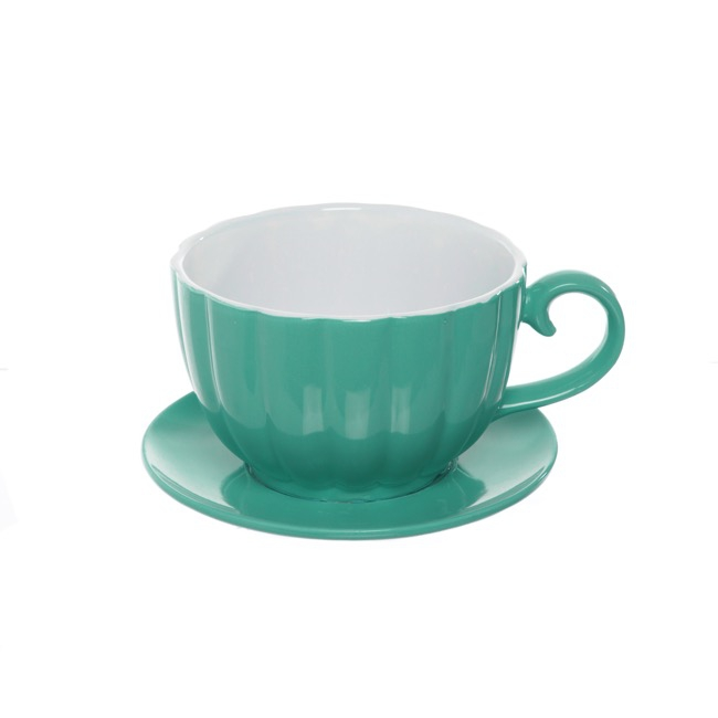Ceramic Tea Cup Pot Saucer Tiff Blue Drainage Hole 15Dx10cmH