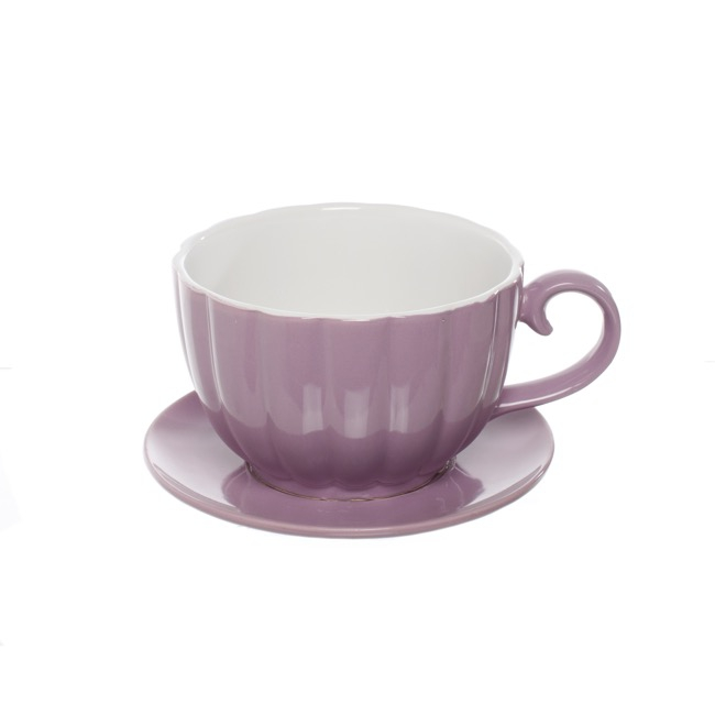 Ceramic Tea Cup Pot Saucer Lavender Drainage Hole 15Dx10cmH