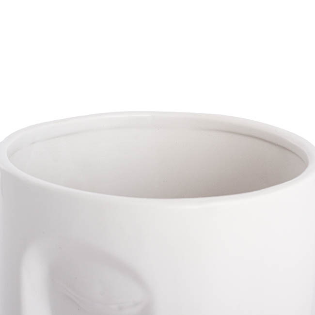 Ceramic Face Pot White (16.3x16.3x29.5cmH)