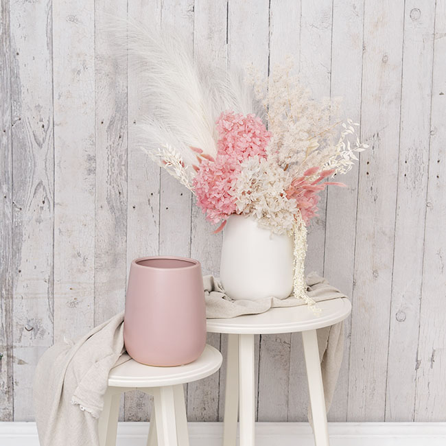 Ceramic Taron Belly Pot Matte White (15.5x18cmH)