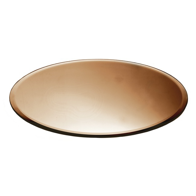 Round Mirror Candle Plate Bevelled Edge Copper 40cm (16