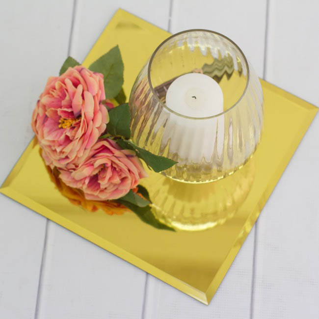 Square Mirror Candle Plate Bevelled Edge Gold 40cm (16)