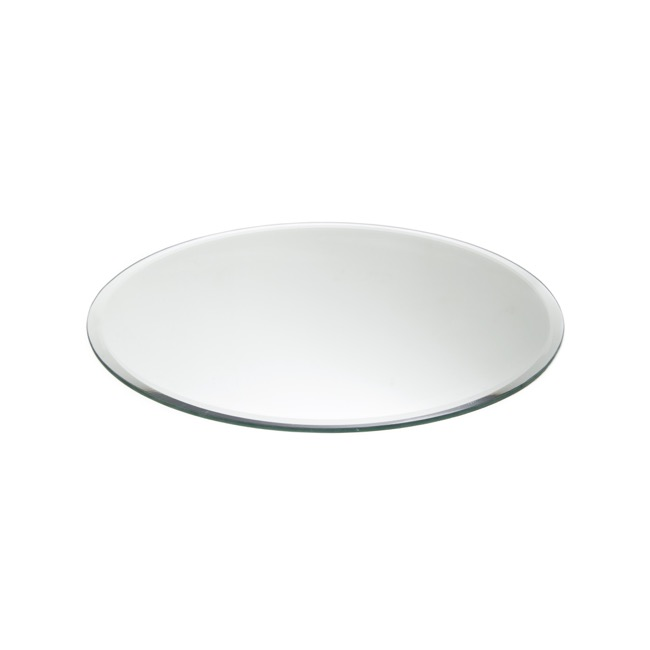 Round Mirror Candle Plate with Bevelled Edge 20cm (8