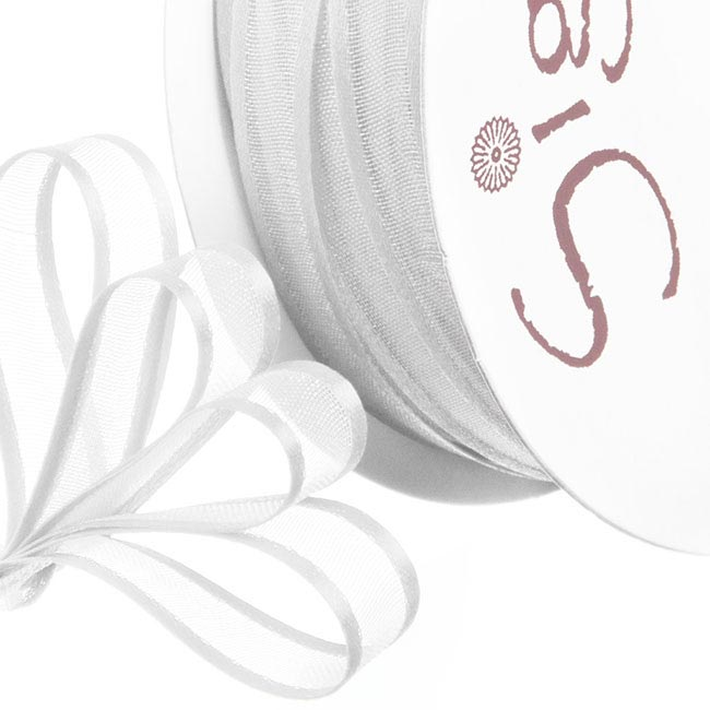 Ribbon Organdy Satin Edge White (10mmx20m)