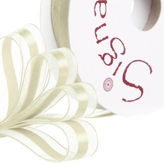 Ribbon Organdina Satin Stripes Cream (15mmx20m)