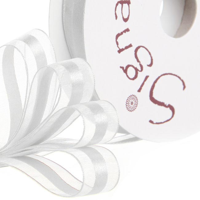 Ribbon Organdina Satin Stripes White (15mmx20m)