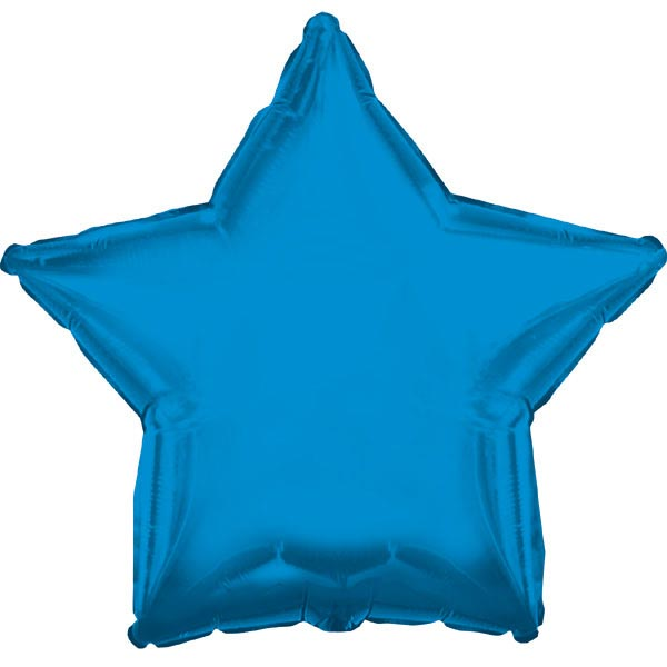 Foil Balloon 17 (42.5cm Dia) STAR Shape Solid Blue