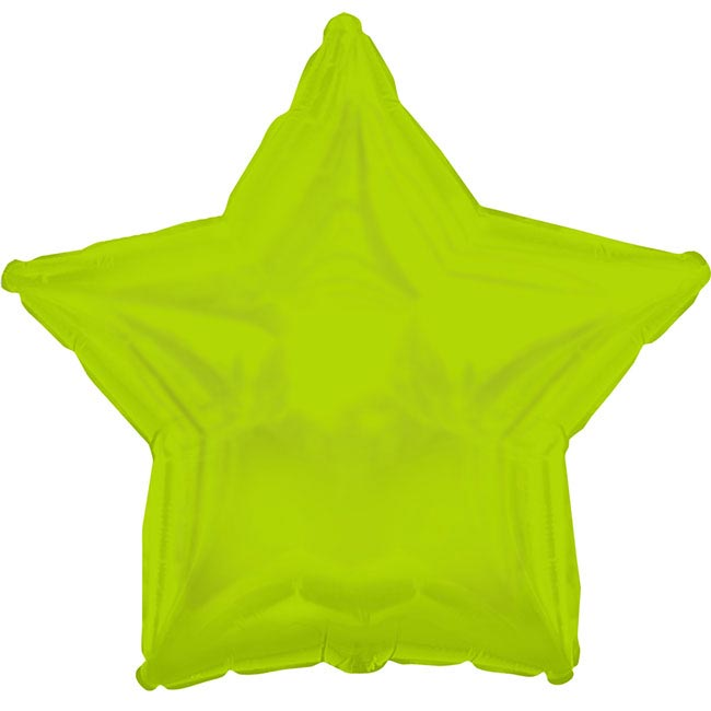 Foil Balloon 17 (42.5cm Dia) STAR Shape Solid Lime