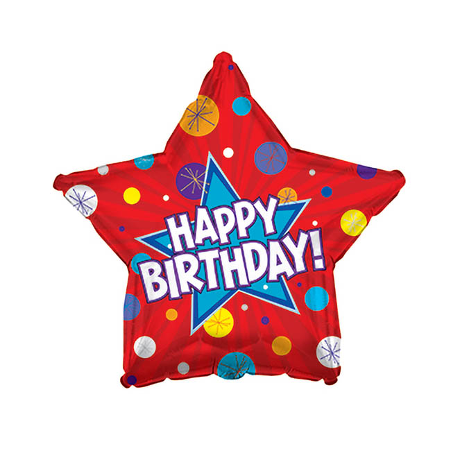 Foil Balloon 17 (42.5cm Dia) STAR Happy Birthday Dynamic