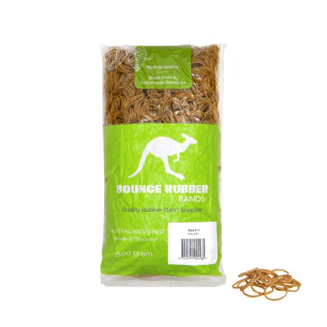 Rubber Bands Biodegradable Bag 500g Size 12 (42mmLx1.5mmW)