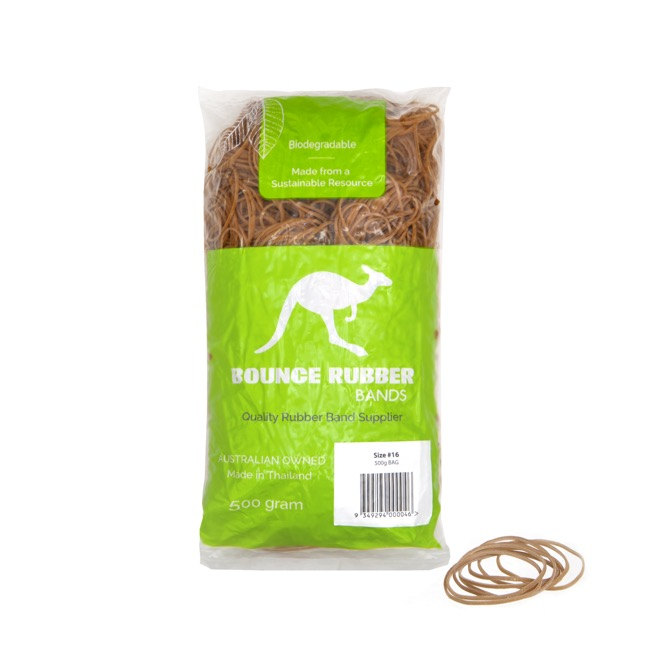 Rubber Bands Sustainable Bag 500g Size 16 (60mmLx1.5mmW)