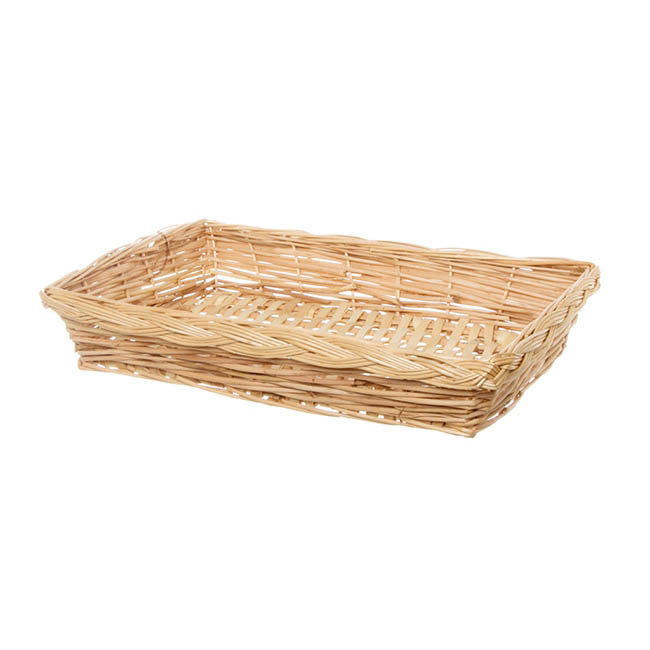 Willow Bread Basket Tray Rectangle Natural (42x29x8cmH)