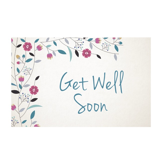 Cards Get Well Soon Blue (10x6.5cmH) Pack 50