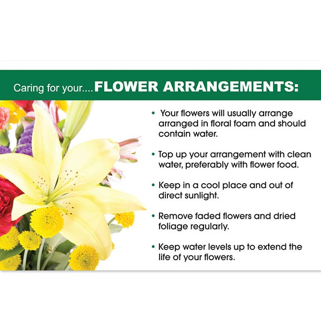 Cards Flower Care Flowers Arrangements (10x6.5cmH) Pack 50