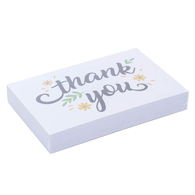 Cards White Thank You Leaf (10x6.5cmH) Pack 50