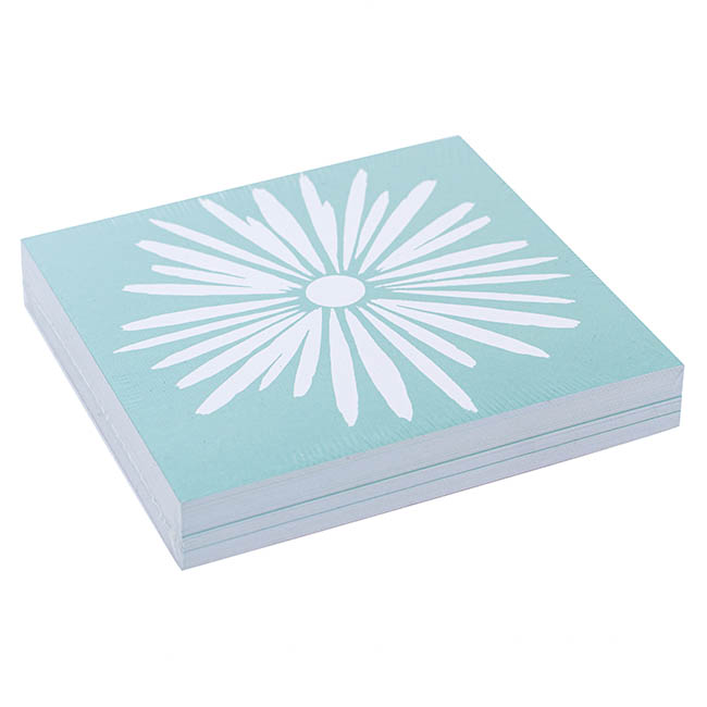 Cards Square Flower Puff Teal (10x10cm) Pack 50