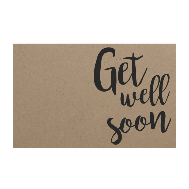 Cards Brown Kraft Get Well Soon (10x6.5cmH) Pack 50