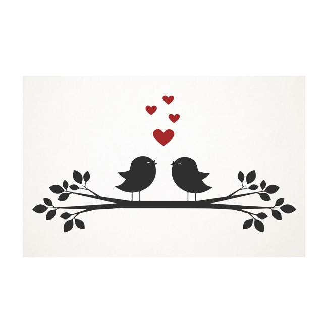 Cards White Love Bird Branch (10x6.5cmH) Pack 50