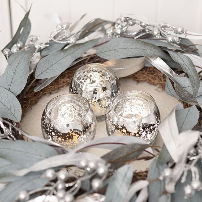 Glass Tealight Candle Holder Mini Sphere Silver (5.5x6cmH)