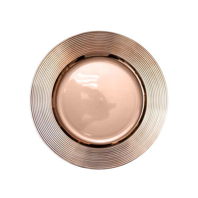 Charger Plate Ripple (33cmD) Chrome Rose Gold