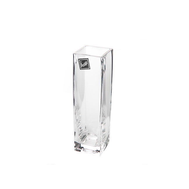 Square Glass Bud Vase Clear (4cmDx15cm)