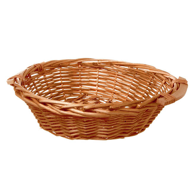 Willow Bread Basket Tray Round Honey (42cmDx14cmH)