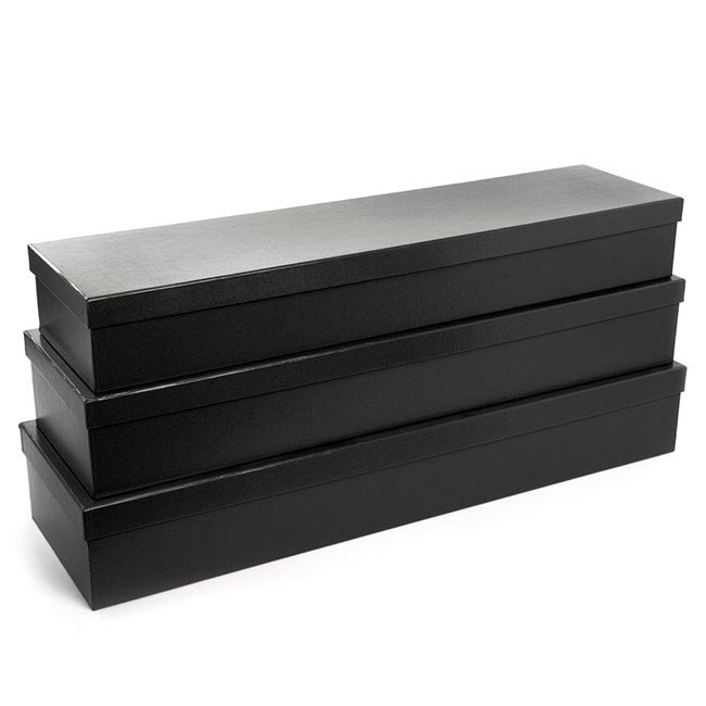Premium Ribbed Rose Box Dozen Black (78x23x12cmH) Set 3