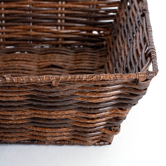 Artificial Wicker Tray Rectangle M Dark Brown (37x28x10cmH)