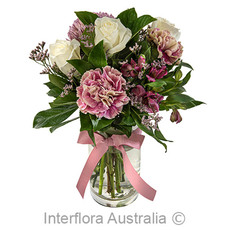- Interflora Devoted Mother White And Pink Arrangement