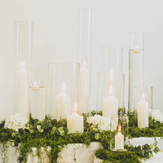 - Elegant Glass Vase & Pillar Candles Display