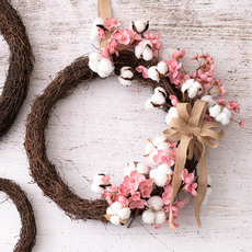 - Cherry Blossoms & Cotton Wreath