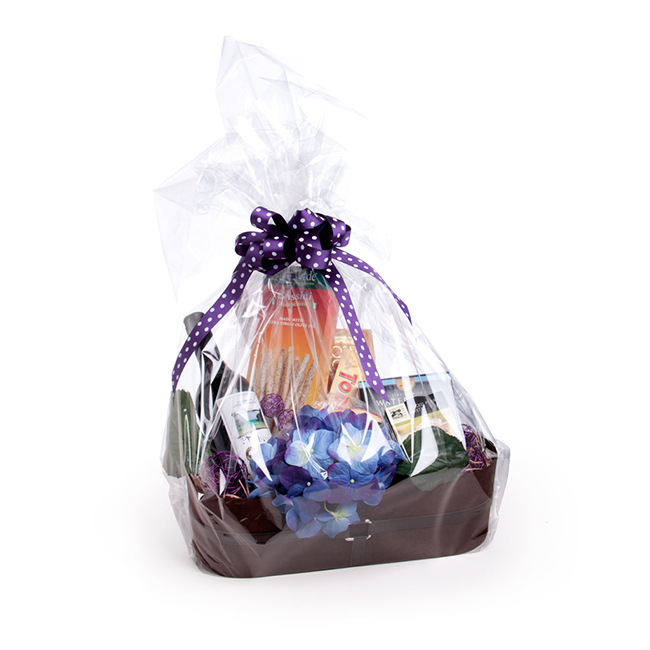 A gift hamper wrapped in clear cello