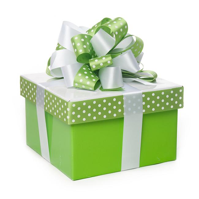 A green gift wrapped box with white florist tear ribbon & polka dot ribbons.