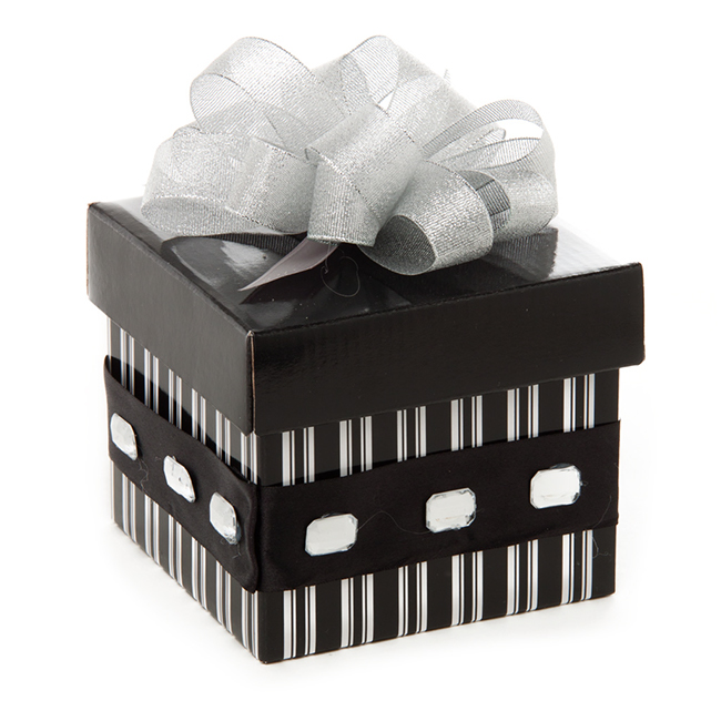 A gift box with a silver metallic pull bow.