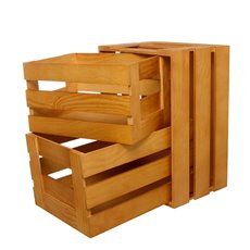 Wooden Crate Box Rectangle Large 3 Set Natural (41x31x22cmH)