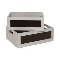 Wooden Crates & Boxes - Wooden Crate Chalkboard Insert Set 2 Wash Grey (35x25x12cmH)