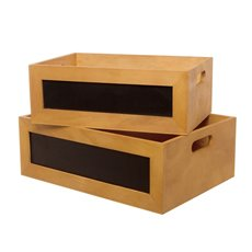 Wooden Chalkboard Crate Set of 2 Natural (35x25x12cmH)