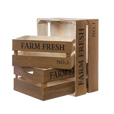 Wooden Crates & Boxes - Wooden Crate Farm Fresh Set 3 Rustic Brown (41x31x19cmH)
