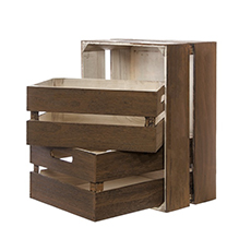 Wooden Crates & Boxes - Wooden Crate Storage Box Set 3 Brown (41x31x19cmH)