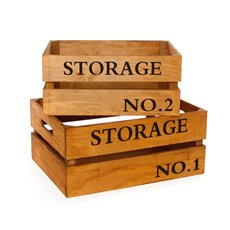 Wood Crate Storage Rectangle 41x31x19cmH Set of 2 Natural