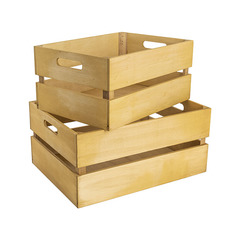 Wooden Crates & Boxes - Wooden Crate Rectangle (41x31x19cmH) Set 2 Natural Painted