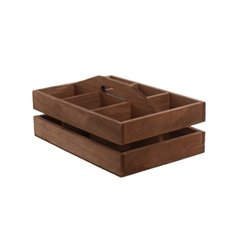 Wooden Crate with 6 Dividers Brown (24.5x16.5x8.8cmH)