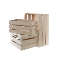 Wooden Crates & Boxes - Wooden Crate Storage Box Set 3 Natural (41x30x18cmH)