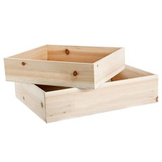 Wooden Crate Set 2 43x34x10cmH Hamper Natural