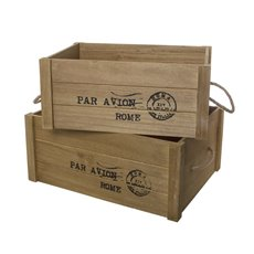 Wooden Crate Box Air Mail Set of 2 Brown (41.5x31.5x18cmH)